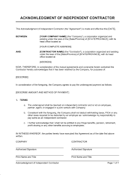 Independent Contractor Agreement Template Acknowledgment Of Independent Contractor Template Word Pdf By