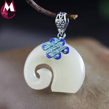 2019 valentine s day natural white jade pendant necklace women men jewelry cute animal elephant burn blue pendant silver knot sp78 from desertrose