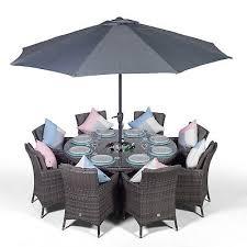 savannah 8 seat large round rattan garden dining table chairs set ice bucket