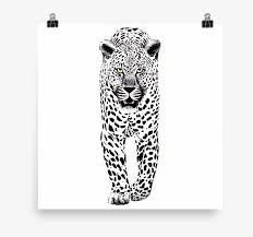 leopard ink black and white wall art