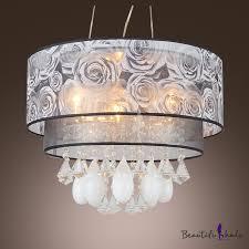 teardrop crystals grey flowers 2 tier drum shade chanelier pendant light beautifulhalo com