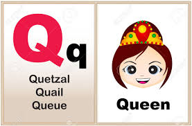 Alphabet letter Q with clip art and few similar words starting with the letter printable graphic for Stock Vector