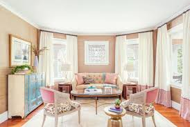 how to decorate feminine rose quartz peach pink pastel living room dining room grcloth stripe