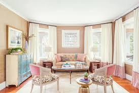 how to decorate feminine rose quartz peach pink pastel living room dining room grasscloth stripe jamie keskin design