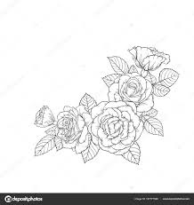 Black And White Greeting Card Beautiful Black And White Bouquet Rose And Leaves Floral
