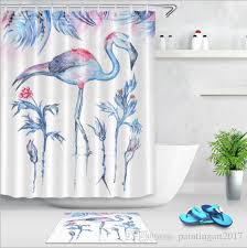 2019 new creative european style pink flamingo shower curtains with 12hooks waterproof bath curtain polyester bathroom shower curtain bath mats from