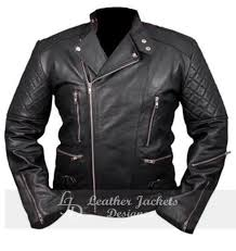 chris brown mens aviator biker er style quilted sleeves with zipper pockets leather jacket front view