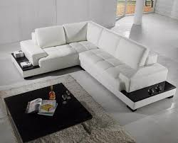 Delighful Modern Sectional Couch Sofa In White Bonded Leather Modernlivingroom Concept Ideas