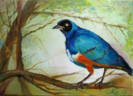 blue bird original oil painting nature art wildlife art original art original bird painting landscape painting