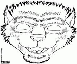 Kleurplaat Weerwolf Halloween Masker Kleurplaten
