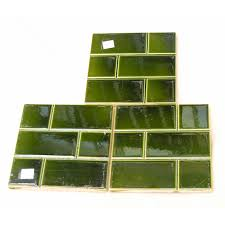 antique green fireplace tile