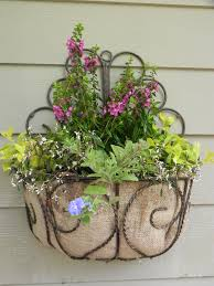 i have been working on more of my container gardens for my home i love to pick pretty colors and combinations here is a wrought iron wall basket planter i
