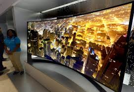 samsung curved tv 105. samsung panoramic 105 inch curved uhd tv is displayed at the las vegas convention center tv
