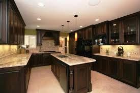 Galley Kitchen And Country Espresso Cabinet With Lighting Fixtures