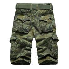 Mens Outdoor <b>Multi</b>-<b>pocket Cargo Shorts</b> Solid Color Knee Length ...