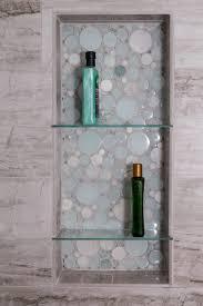 bathroom shower porcelain river marble 12x24 silver springs niche glazzio bubble glass mosaic moonstone niche custom