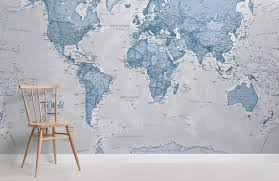 the world in blue map maps room wall