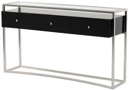stainless steel furniture designs. Modern Console Table Design With Glass Top And Stainless Steel Frame Plus Black Polished Mounted Drawer Ideas Furniture Designs O