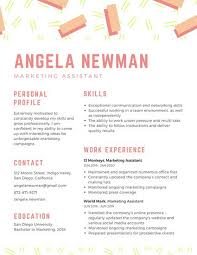 Marketing Assistant Resume Enchanting Orange Striped Marketing Assistant Creative Resume Templates By Canva
