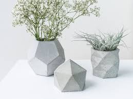 Geometric Concrete Planter Set