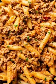 Taco pasta with ground beef organized island penne pasta, small tomato, corn, chili powder, cilantro, garlic and 6 more macaroni bechamel with ground beef petitchef tomato, nutmeg, onion, parmesan cheese, black pepper, flour, penne pasta and 7 more Easy Creamy Ground Beef Pasta Salt Lavender