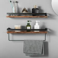 2 set floating shelves wall mount wood