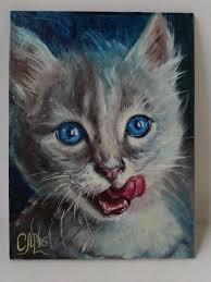 cute gift for cat lover cat oil painting blue eyes kitten portrait painting gift for
