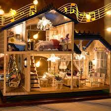 dollhouse lighting. Music Led Light Miniature Doll House Provence Dollhouse Diy Kit Wooden Model Toy With Furniture Birthday Christmas Gifts Barbie Lighting