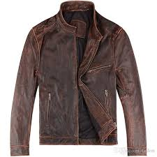 lock fashion men old slim fit leather er first layer leather jacket genuine leather control vintage motorcycle jacket suede jacket windbreaker jackets