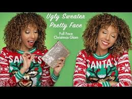 ugly sweater pretty face full face holiday glam makeup routine