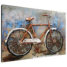asmork 3d metal art 100 handmade metal unique wall art stereograph oil painting on bike wall decor with basket with amazon hanna s handiworks bicycle wall art home kitchen