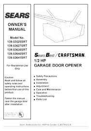 craftsman garage door opener manual sears 41a4315 7a