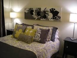 Ideas Home Design Gray And Yellow Bedroom Decor Inspiration Excellent Artwork Painting Attach On White Wall As Themes