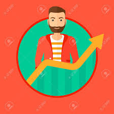 A Hipster Man With The Beard Standing Behind Growing Chart Vector