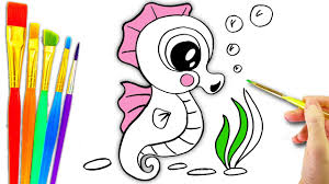 Top 10 sea animals coloring pages for kids coloring and sketching these drawing sheets will also provide stimulation and fun to the young minds. Sea Animals Coloring Page L Aquarium Animals Drawing Pages To Color For Kids L How To Draw Seahorse Youtube