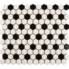Black & White Hexagon Tile Bathroom floor with Delorean grout