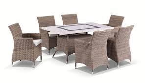 caesar 6 7pc travertine stone outdoor table setting with half round wicker outdoor chairs