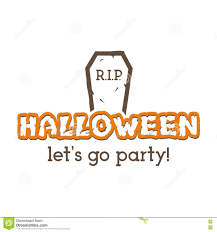 Halloween Rip Party Label Template With Tombstone And Typography