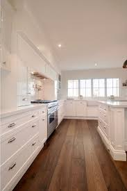 White Kitchen Wood Floor With Cabinets And Wide Hardwood Plank On Models Ideas