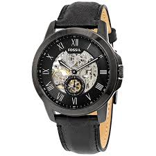 fossil grant black skeleton dial automatic men s watch me3096