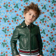 gucci kids bottle green leather jacket