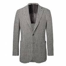 p johnson black unstructured houndstooth wool blend blazer