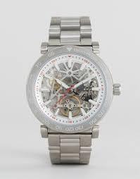 michael kors shop michael kors for men s watches michael kors michael kors mk9034 exposed mechanics bracelet watch in silver