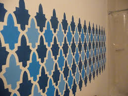 Small Picture Wall Paint Stencils Moroccan With Simple Design With Blue And Dark