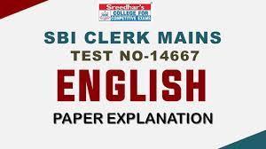 SBI CLERK MAINS TEST NO-14667 ENGLISH - YouTube