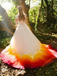 buy a line square chapel train ombre wedding dress with appliques
