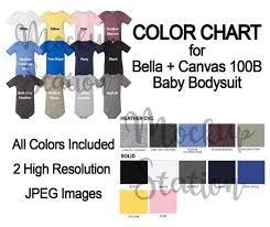 Color Chart For Bella Canvas 100b Bodysuit Template Digital Baby One Piece Color Chart Etsy Color Chart Instant Download Tee Color Swatch