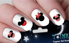 Minnie Mouse Nail Art Waterslide Decals Assortment! - Salon Quality 50 Nail  Decals - Mickey Minnie Mouse Ears