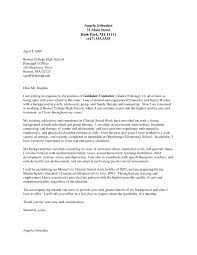 Career Counselor Cover Letter Cover Letter For Counseling Position