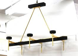 italian stilnovo style chandelier with six arms in black and gold front